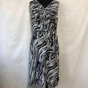 MLLE GABRIELLE Black & White Abstract Dress Sz 16